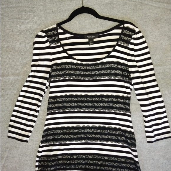 White House Black Market Tops - Whbm black stripe lace lined 3/4 sleeve top